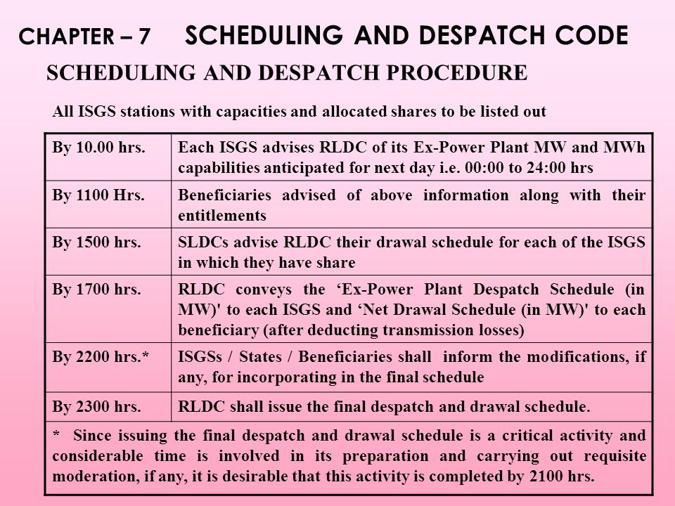 SCHEDULING AND DESPATCH PROCEDURE By 10.00 hrs.Each ISGS advises RLDC of its Ex-Power Plant MW and MWh capabilities anticipated for next day i.e.