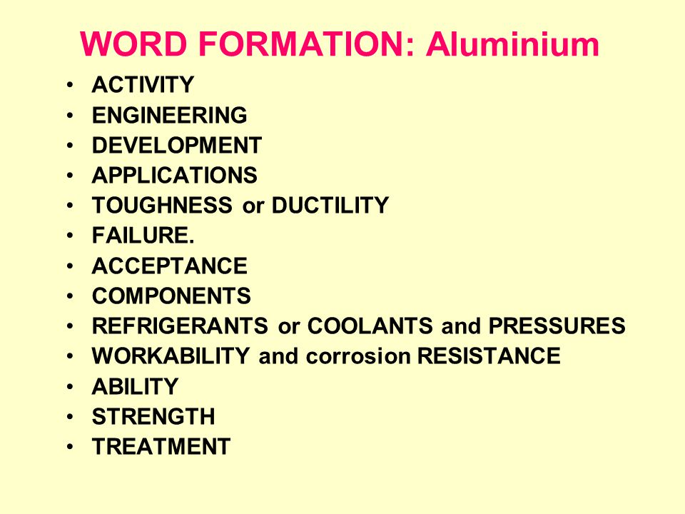 WORD FORMATION: Aluminium ACTIVITY ENGINEERING DEVELOPMENT APPLICATIONS TOUGHNESS or DUCTILITY FAILURE.