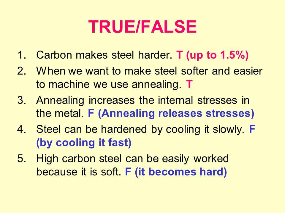 TRUE/FALSE 1.Carbon makes steel harder.