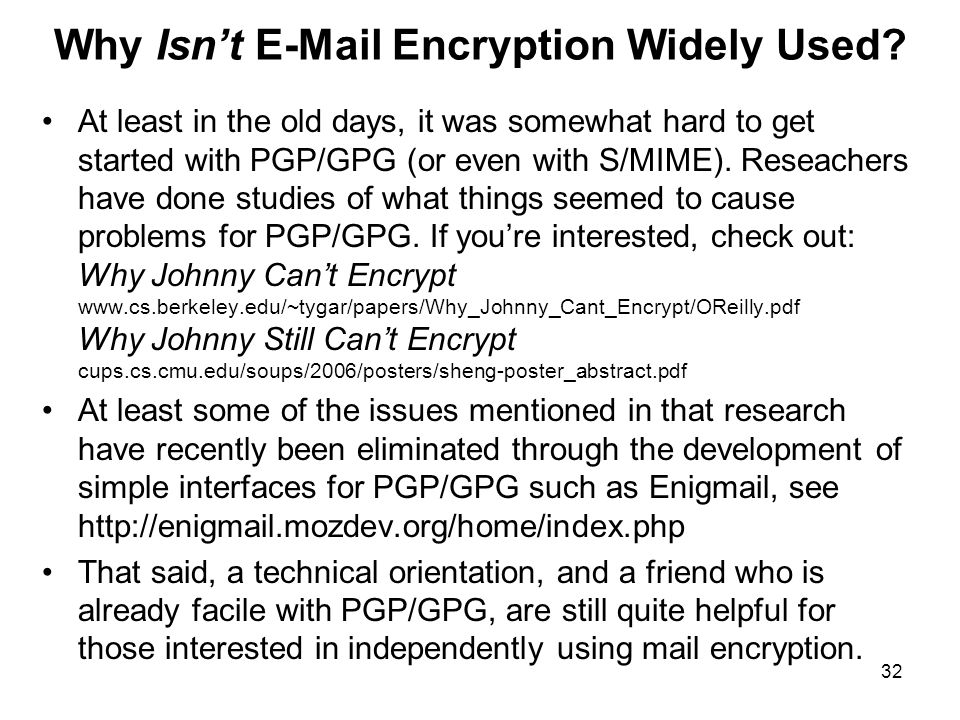 32 Why Isn't E-Mail Encryption Widely Used.