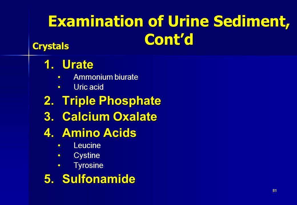 81 1.Urate Ammonium biurate Uric acid 2.Triple Phosphate 3.Calcium Oxalate 4.Amino Acids Leucine Cystine Tyrosine 5.Sulfonamide Crystals Examination o