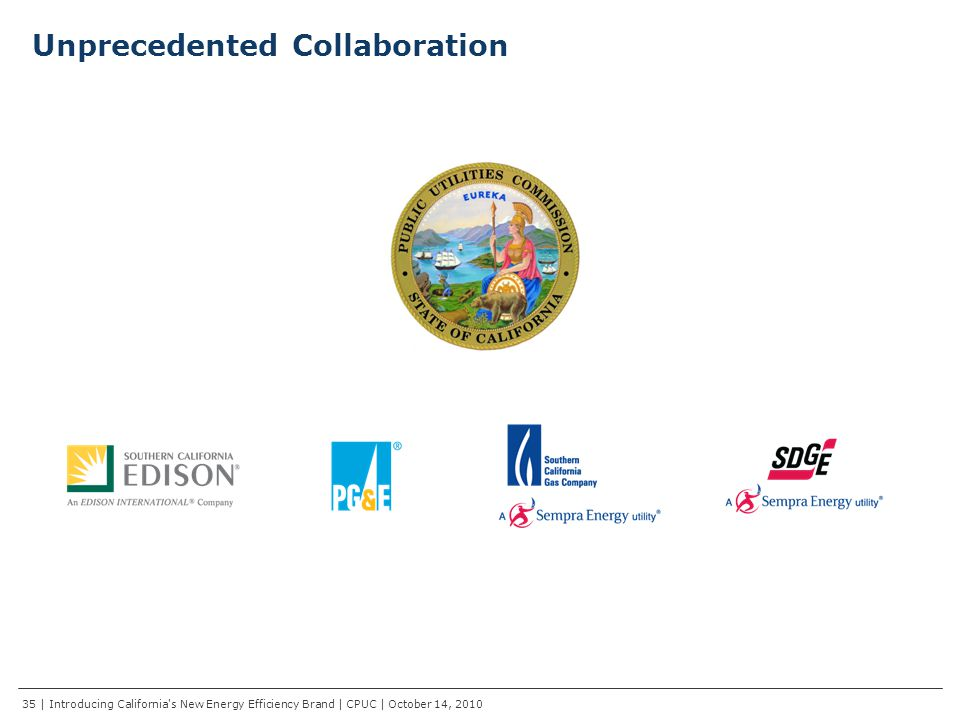 Unprecedented Collaboration 35 | Introducing California s New Energy Efficiency Brand | CPUC | October 14, 2010