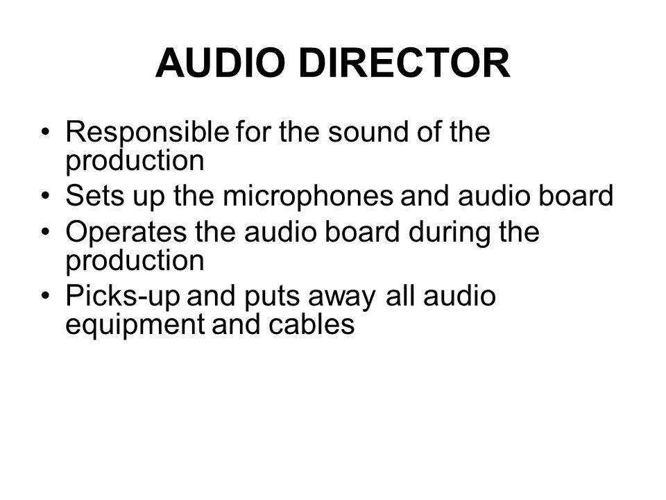 The Audio Engineer In video production, the person responsible for all aspects of initial audio recording In film this person is referred to as the mi