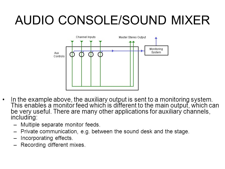 AUDIO CONSOLE/SOUND MIXER Sound Mixers: Auxiliary Channels Most sound desks include one or more auxiliary channels (often referred to as aux channels