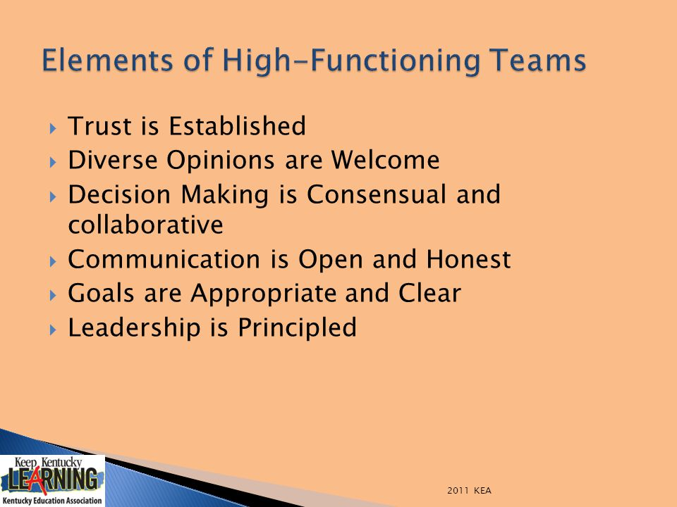  Trust is Established  Diverse Opinions are Welcome  Decision Making is Consensual and collaborative  Communication is Open and Honest  Goals are