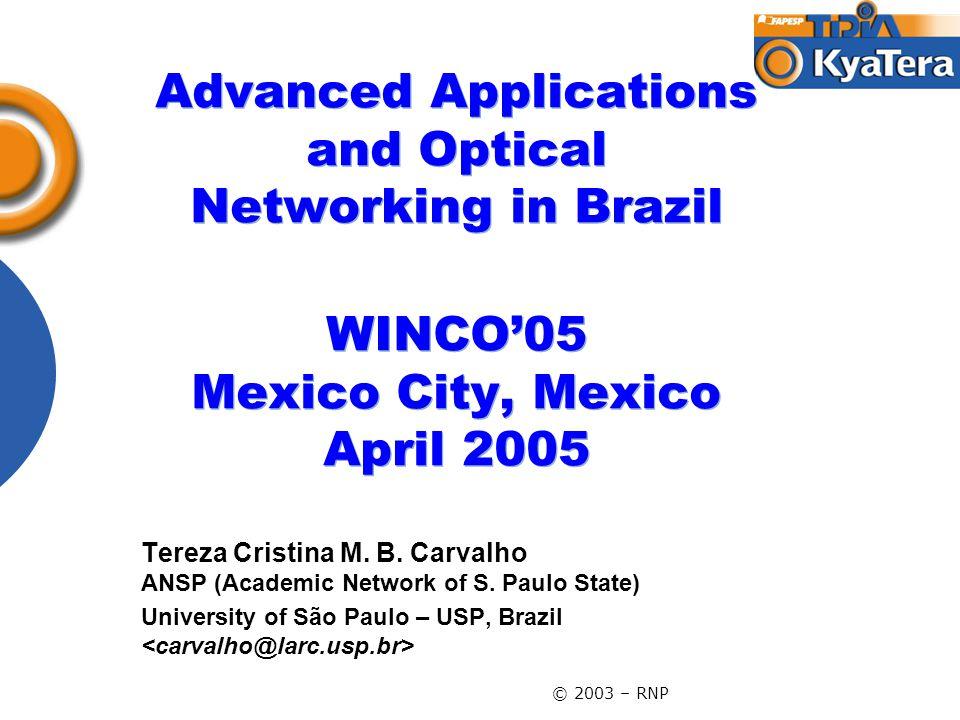 © 2003 – RNP Advanced Applications and Optical Networking in Brazil WINCO'05 Mexico City, Mexico April 2005 Tereza Cristina M. B. Carvalho ANSP (Acade