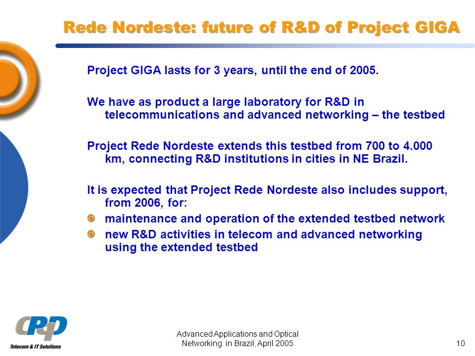 Advanced Applications and Optical Networking in Brazil, April 200510 Rede Nordeste: future of R&D of Project GIGA Project GIGA lasts for 3 years, unti