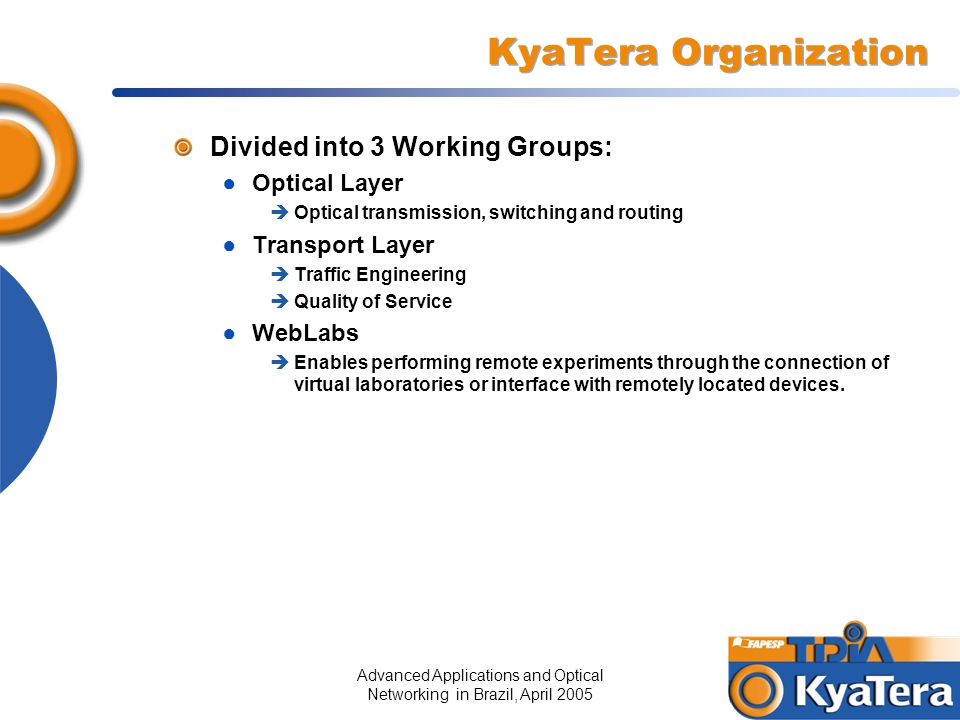 Advanced Applications and Optical Networking in Brazil, April 200516 KyaTera Organization Divided into 3 Working Groups: ● Optical Layer  Optical tra
