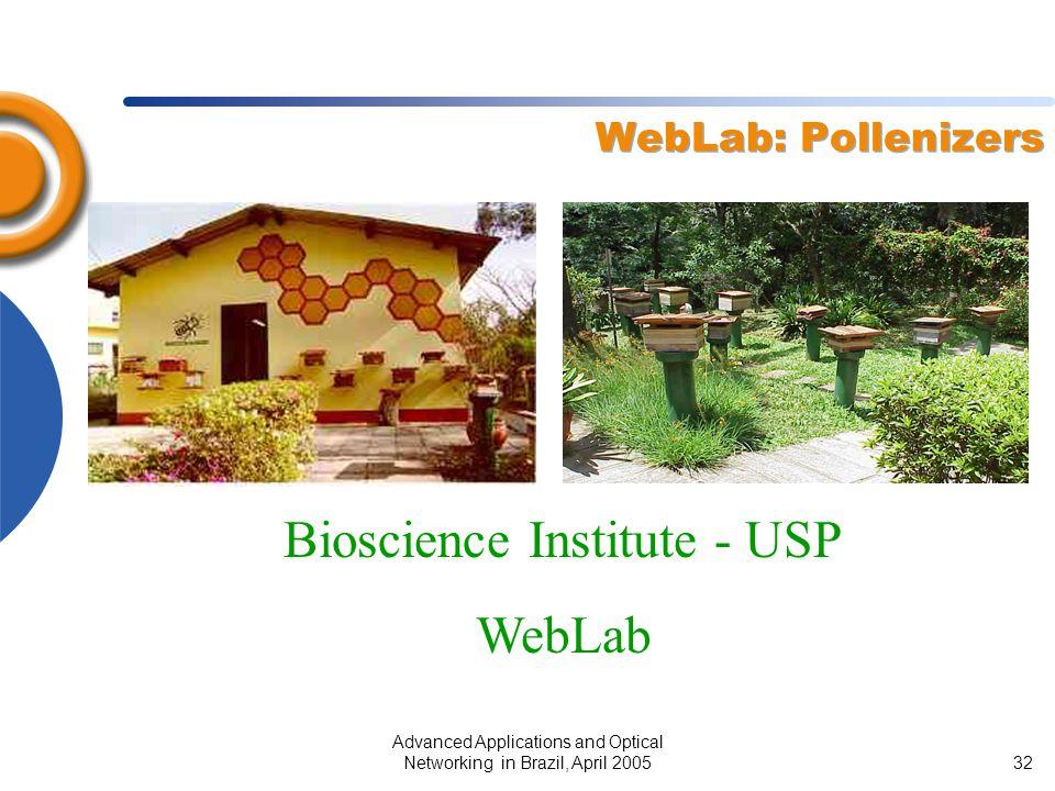 Advanced Applications and Optical Networking in Brazil, April 200532 WebLab: Pollenizers Bioscience Institute - USP WebLab