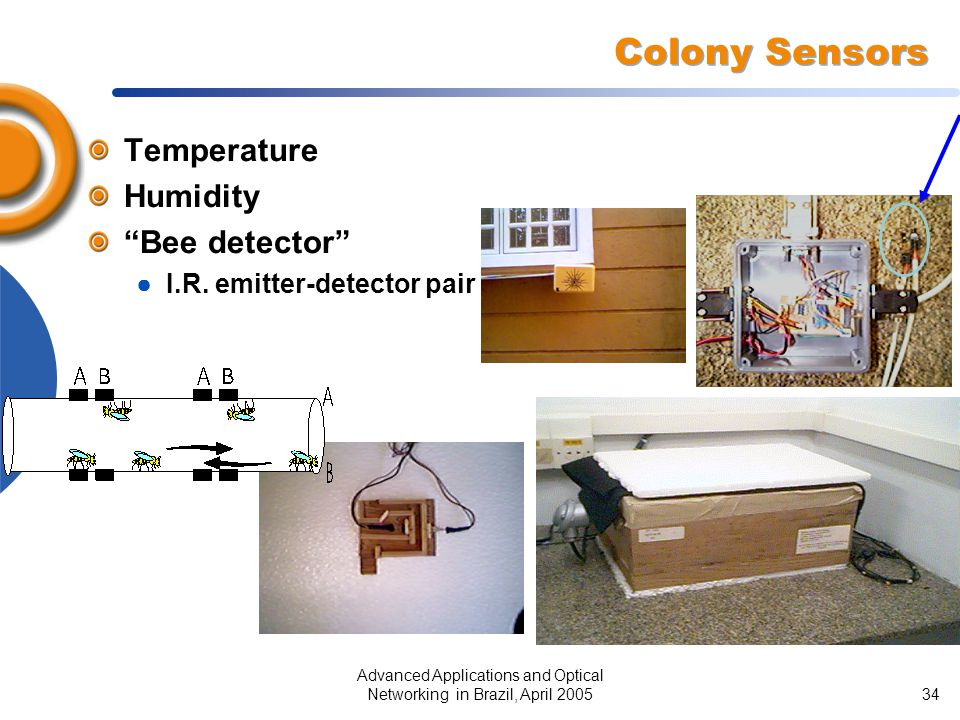 """Advanced Applications and Optical Networking in Brazil, April 200534 Colony Sensors Temperature Humidity """"Bee detector"""" ● I.R. emitter-detector pair"""