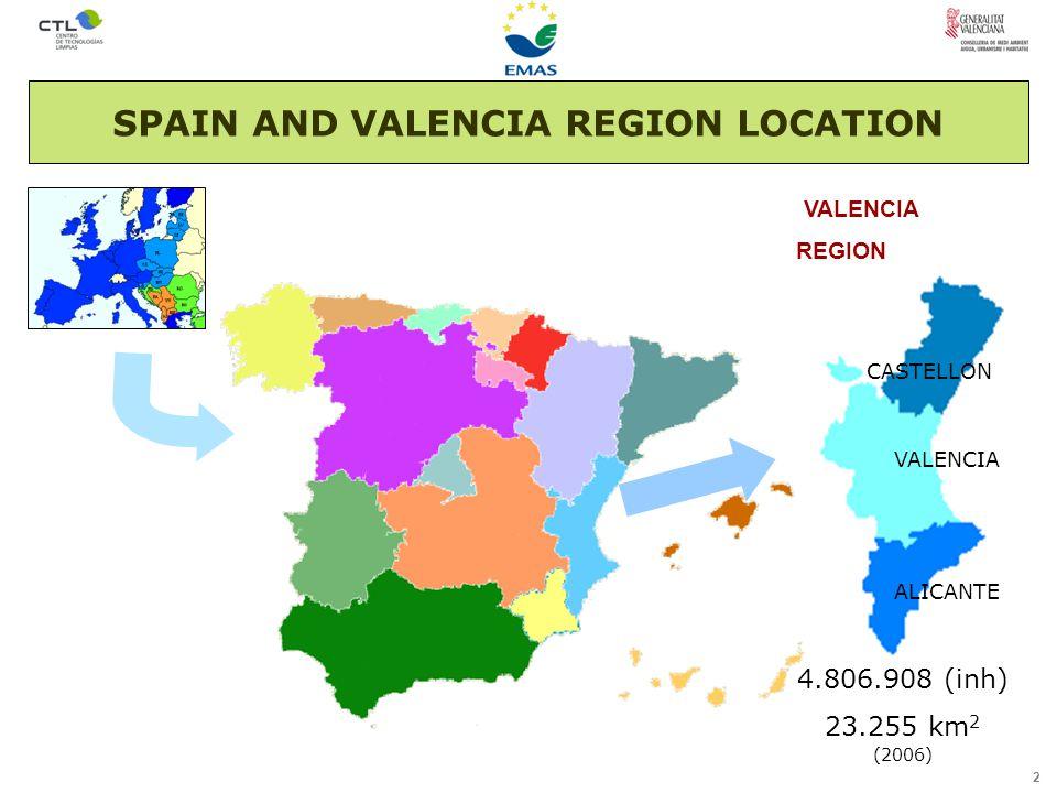 2 VALENCIA REGION SPAIN AND VALENCIA REGION LOCATION 4.806.908 (inh) 23.255 km 2 (2006) CASTELLON VALENCIA ALICANTE