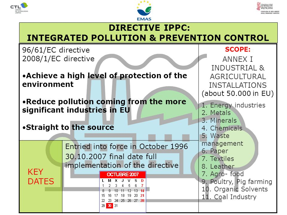 96/61/EC directive 2008/1/EC directive Achieve a high level of protection of the environment Reduce pollution coming from the more significant industries in EU Straight to the source SCOPE: ANNEX I INDUSTRIAL & AGRICULTURAL INSTALLATIONS (about 50.000 in EU) 1.