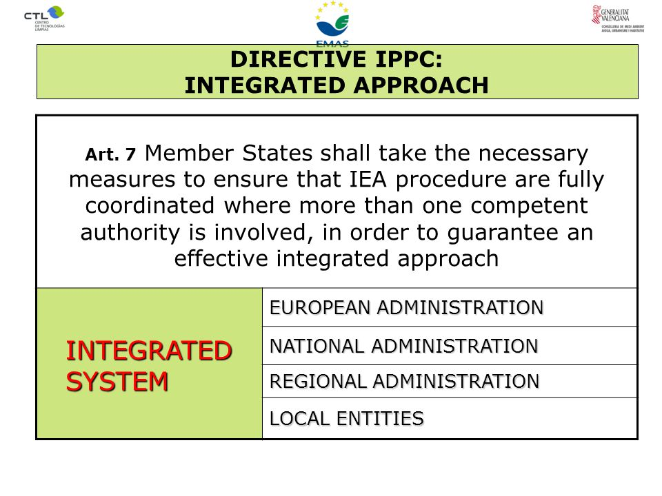 DIRECTIVE IPPC: INTEGRATED APPROACH Art.
