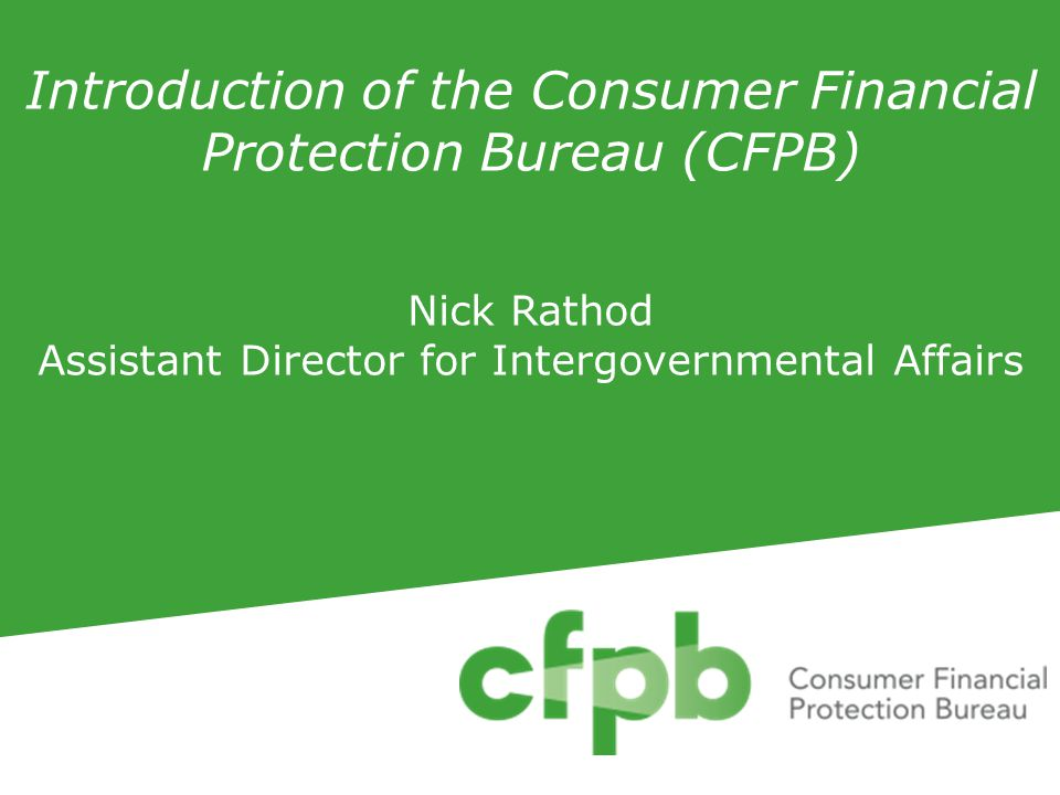1.An introduction to the CFPB's Department of Supervision, Enforcement and Fair Lending 2.