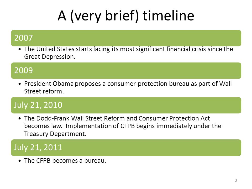 A (very brief) timeline 2007 The United States starts facing its most significant financial crisis since the Great Depression.