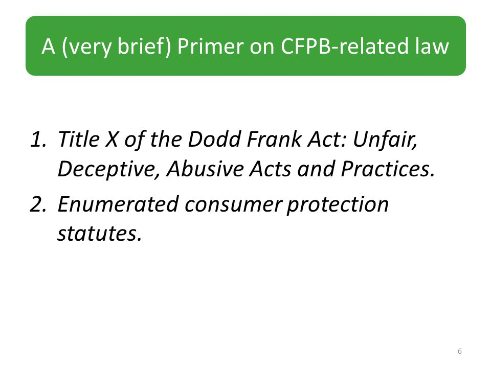 1.Title X of the Dodd Frank Act: Unfair, Deceptive, Abusive Acts and Practices.