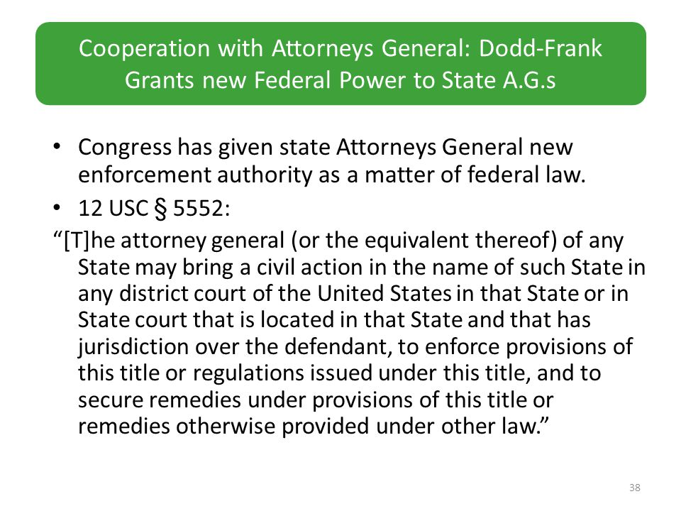 Congress has given state Attorneys General new enforcement authority as a matter of federal law.