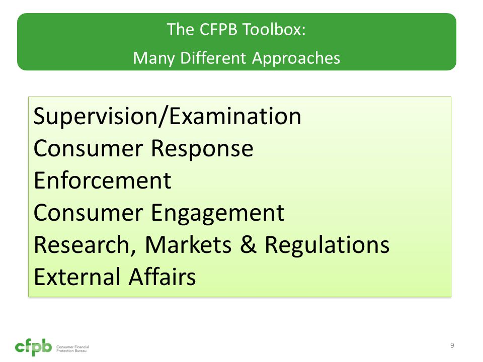 The CFPB Toolbox: Many Different Approaches 9 Supervision/Examination Consumer Response Enforcement Consumer Engagement Research, Markets & Regulations External Affairs Supervision/Examination Consumer Response Enforcement Consumer Engagement Research, Markets & Regulations External Affairs