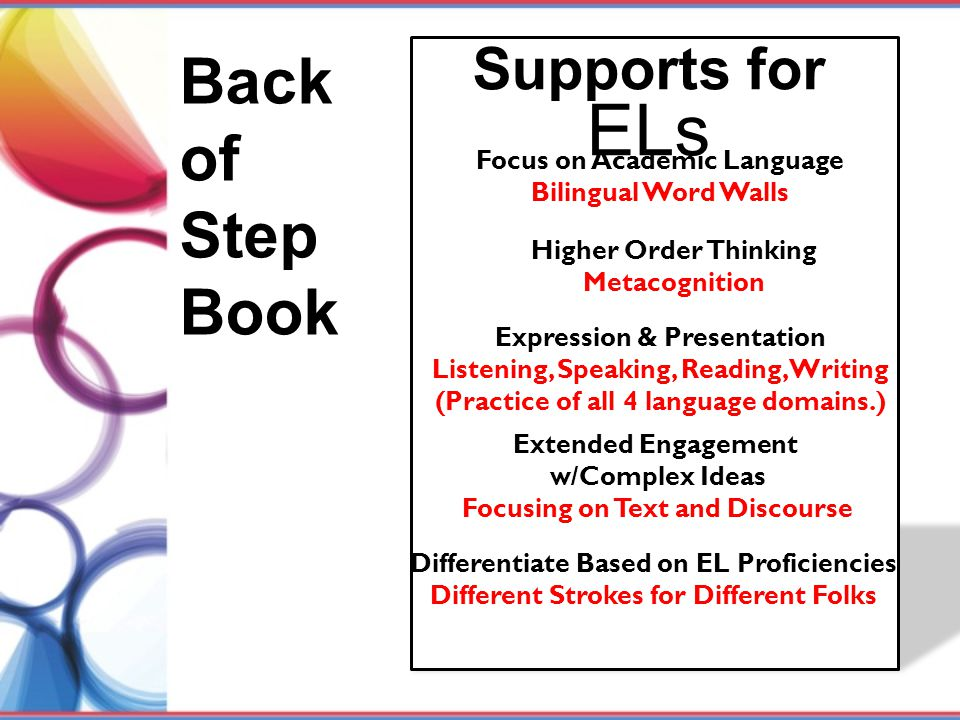 Back of Step Book Supports for ELs Focus on Academic Language Bilingual Word Walls Higher Order Thinking Metacognition Expression & Presentation Liste