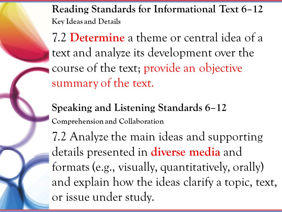 7.2 Determine a theme or central idea of a text and analyze its development over the course of the text; provide an objective summary of the text. 7.2