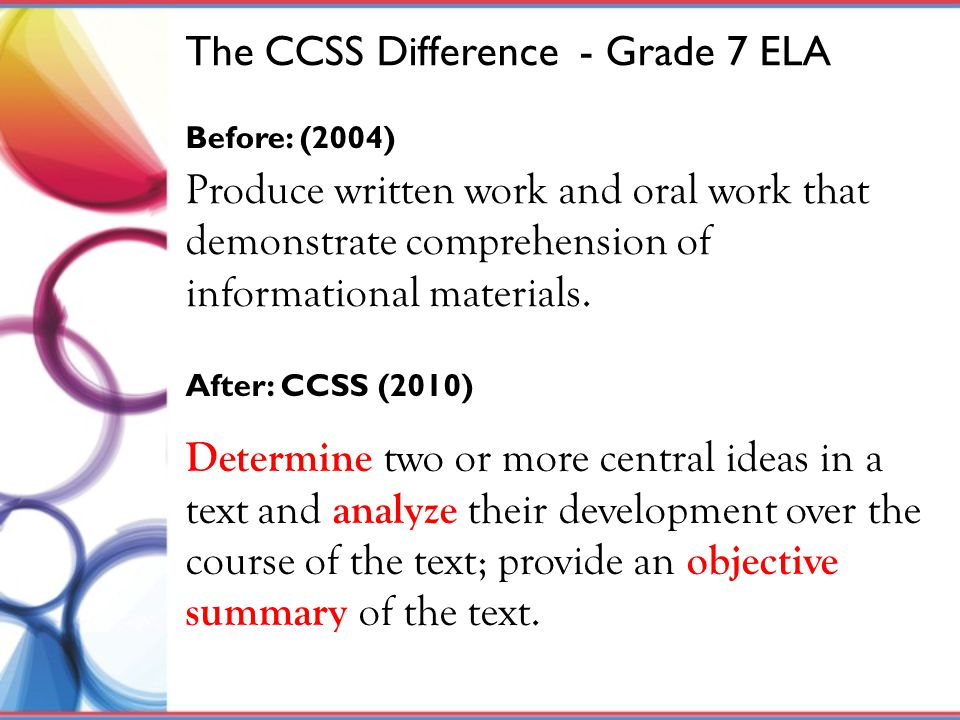 Determine two or more central ideas in a text and analyze their development over the course of the text; provide an objective summary of the text. The