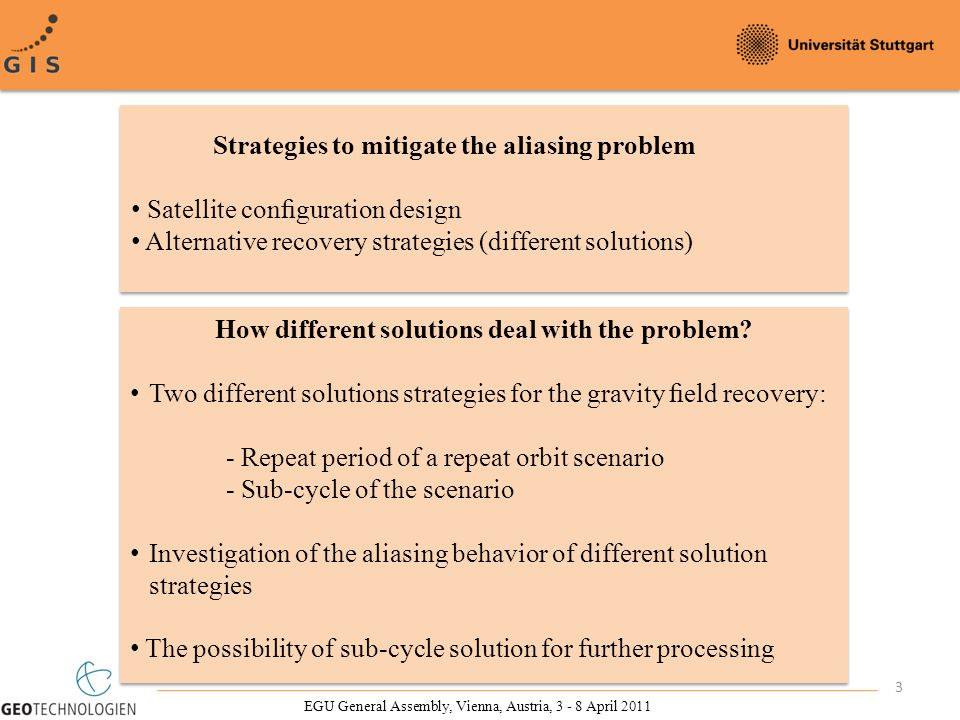 3 Strategies to mitigate the aliasing problem Satellite configuration design Alternative recovery strategies (different solutions) How different solutions deal with the problem.