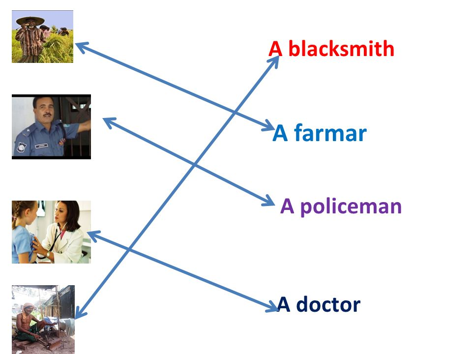 A blacksmith A farmar A policeman A doctor