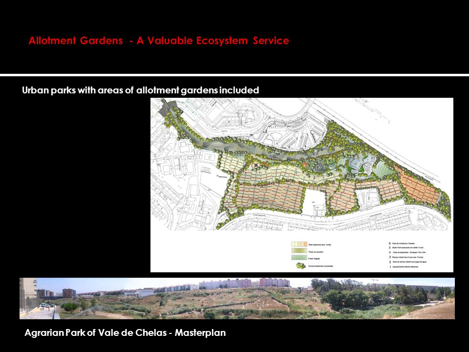 Urban parks with areas of allotment gardens included Agrarian Park of Vale de Chelas - Masterplan