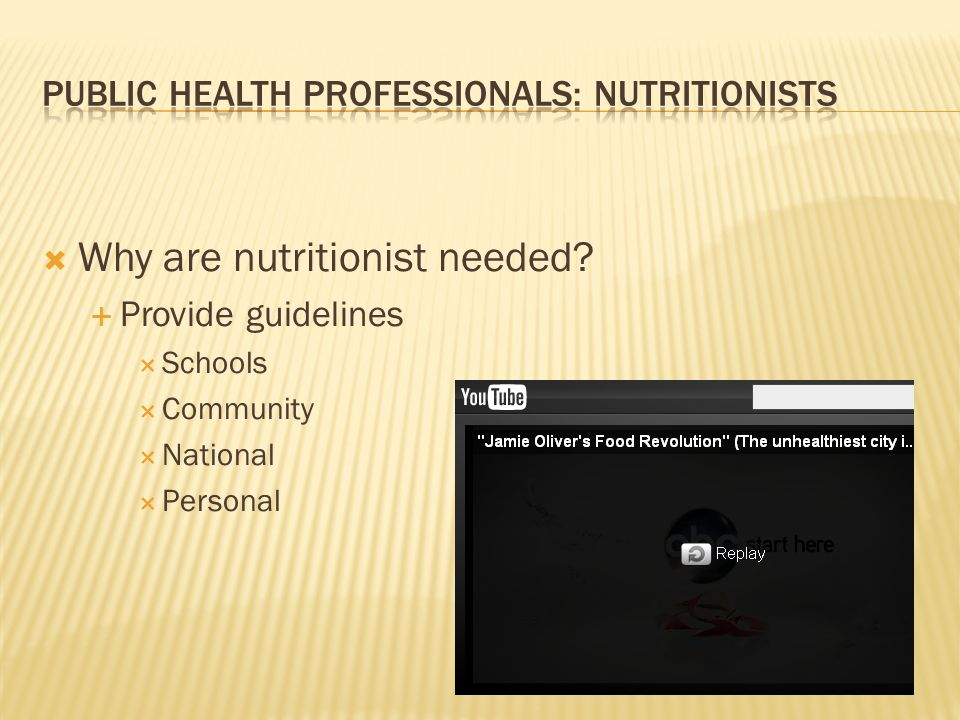  Why are nutritionist needed  Provide guidelines  Schools  Community  National  Personal