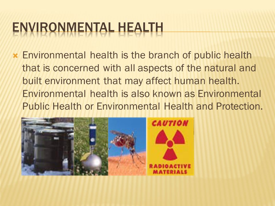  Environmental health is the branch of public health that is concerned with all aspects of the natural and built environment that may affect human health.