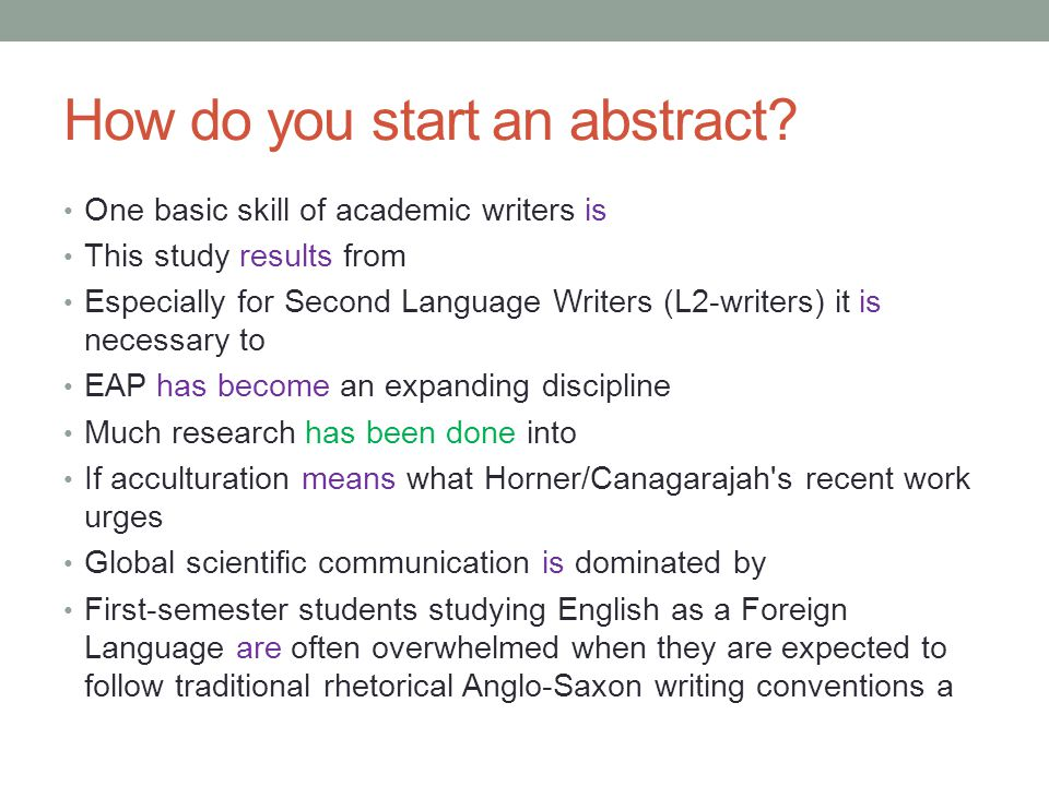 How do you start an abstract.