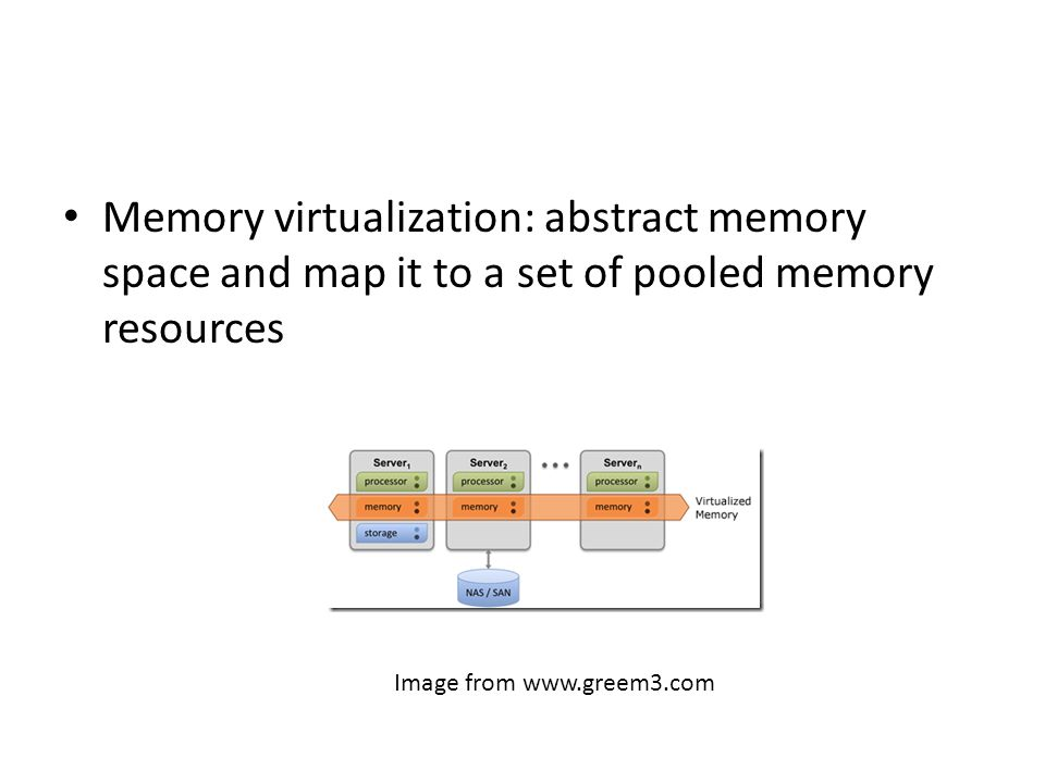 Memory virtualization: abstract memory space and map it to a set of pooled memory resources Image from www.greem3.com