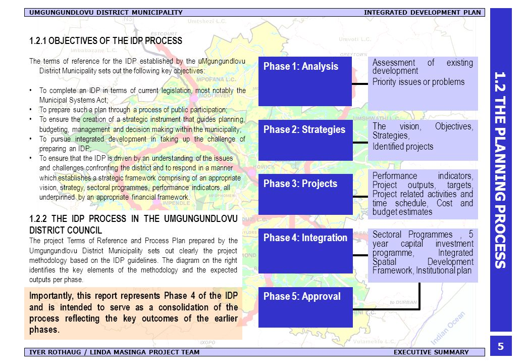 6 IYER ROTHAUG / LINDA MASINGA PROJECT TEAM EXECUTIVE SUMMARY UMGUNGUNDLOVU DISTRICT MUNICIPALITY INTEGRATED DEVELOPMENT PLAN 1.3 USING THE IDP 1.3.1 THE IDP AT A GLANCE The IDP documents a process which has evolved over several months.