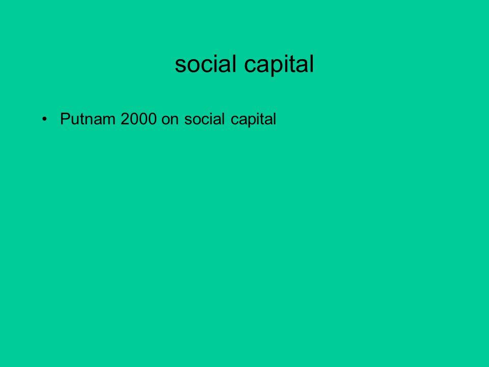 social capital Putnam 2000 on social capital