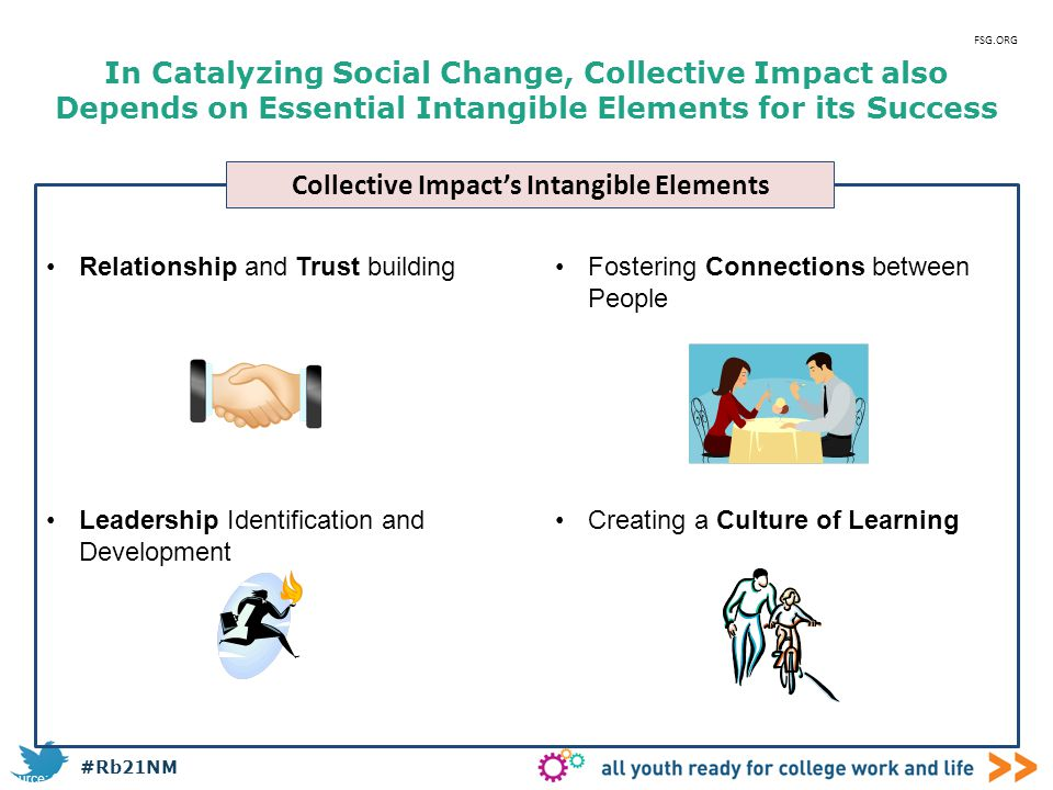 #Rb21NM In Catalyzing Social Change, Collective Impact also Depends on Essential Intangible Elements for its Success Fostering Connections between Peo