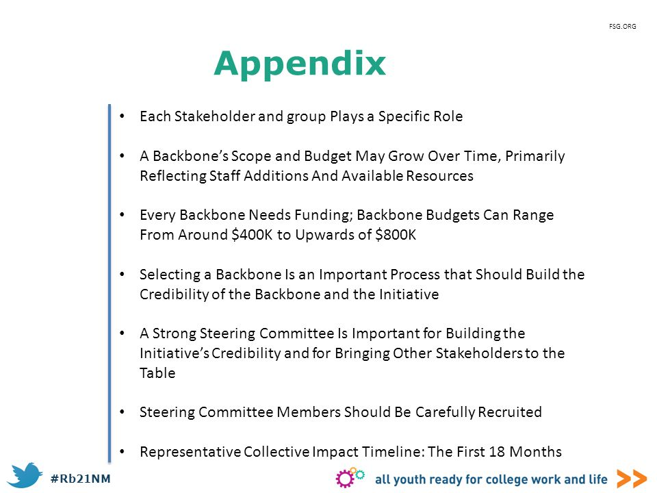 #Rb21NM Appendix FSG.ORG Each Stakeholder and group Plays a Specific Role A Backbone's Scope and Budget May Grow Over Time, Primarily Reflecting Staff