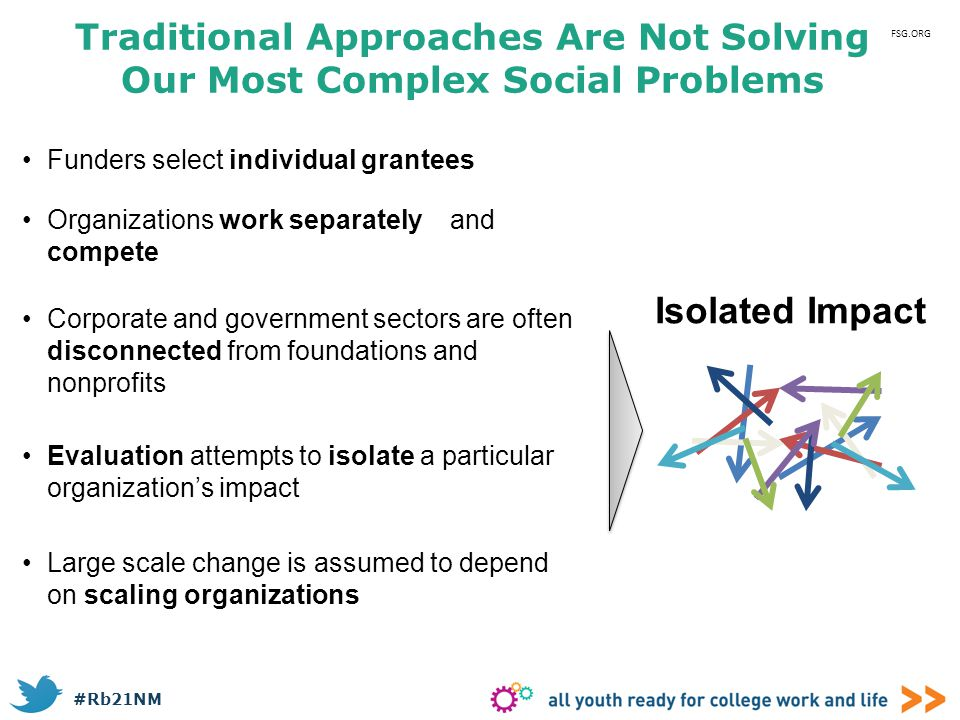 #Rb21NM Traditional Approaches Are Not Solving Our Most Complex Social Problems Funders select individual grantees Isolated Impact Organizations work