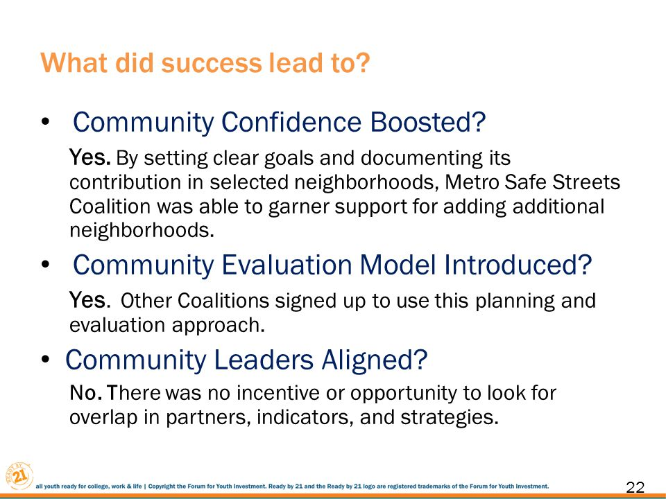 What did success lead to. Community Confidence Boosted.