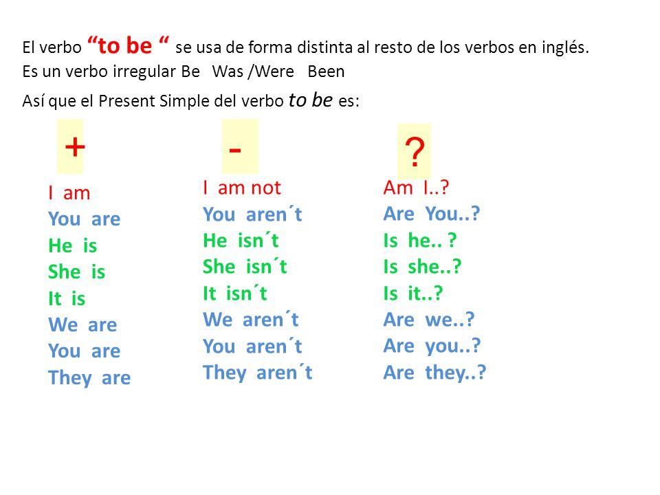 """El verbo """"to be """" se usa de forma distinta al resto de los verbos en inglés. Es un verbo irregular Be Was /Were Been Así que el Present Simple del ver"""