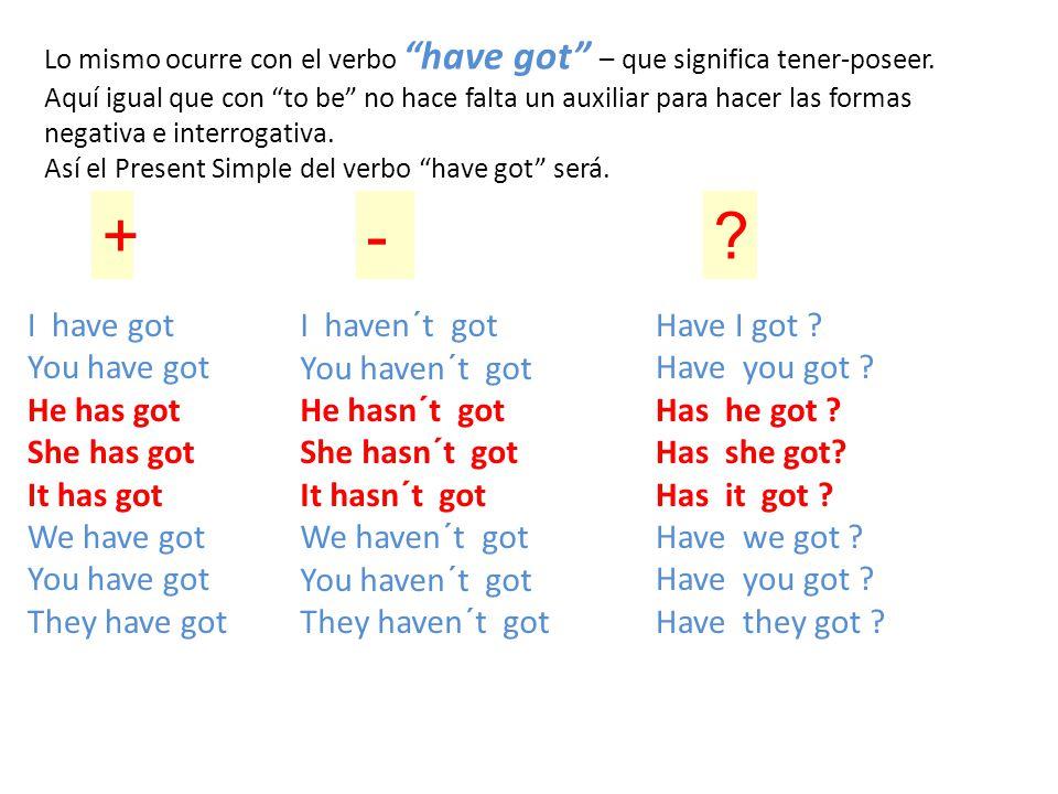 """Lo mismo ocurre con el verbo """"have got"""" – que significa tener-poseer. Aquí igual que con """"to be"""" no hace falta un auxiliar para hacer las formas negat"""