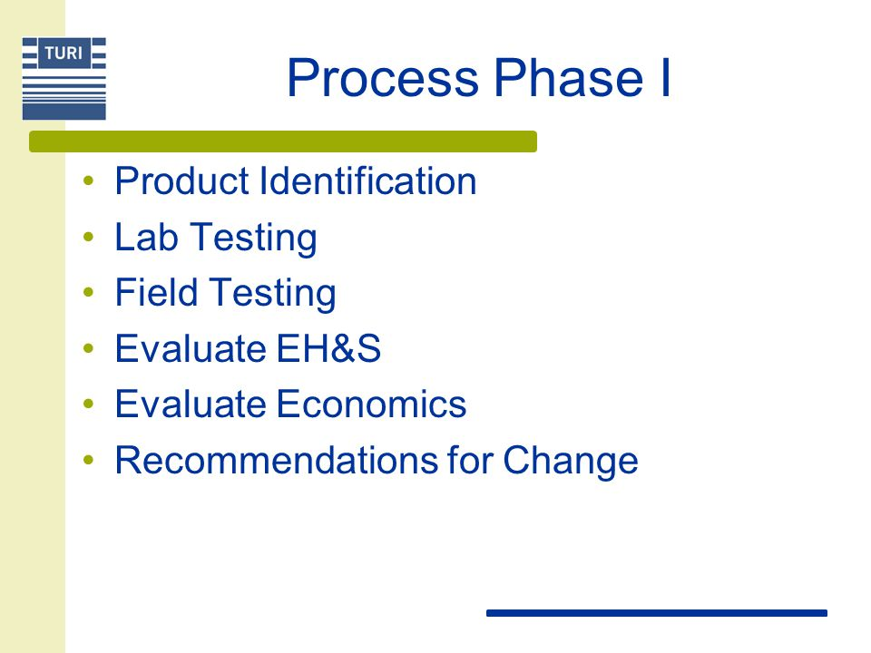 Process Phase I Product Identification Lab Testing Field Testing Evaluate EH&S Evaluate Economics Recommendations for Change