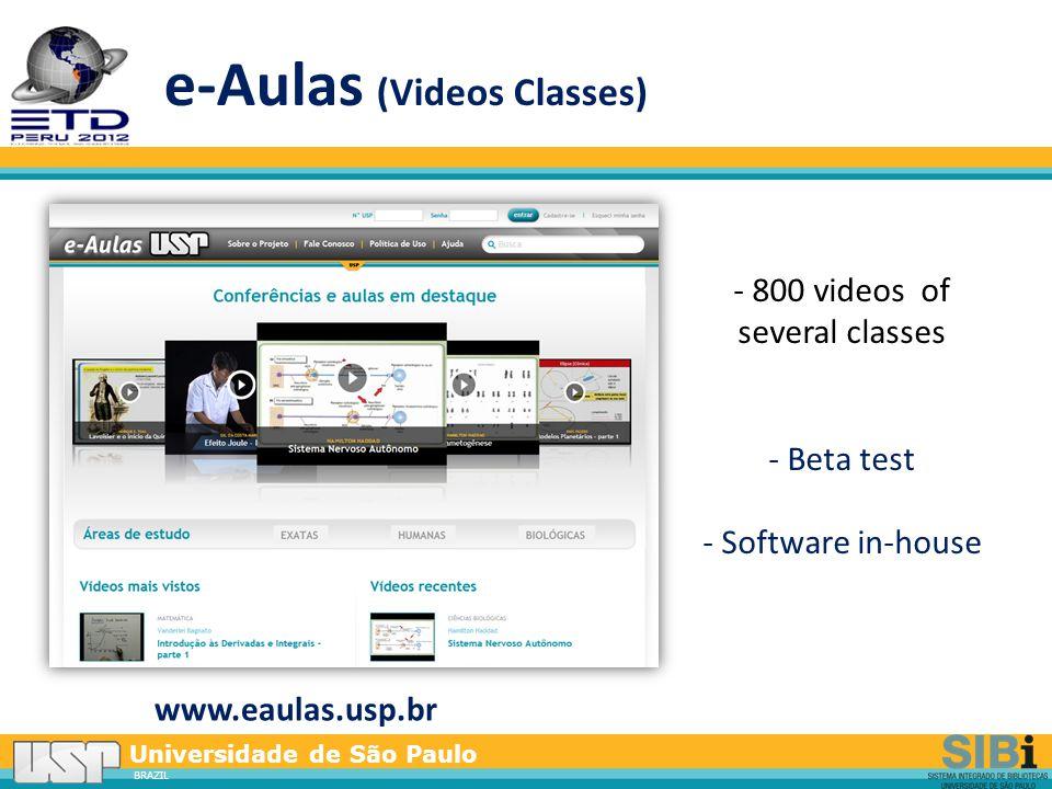 Universidade de São Paulo BRAZIL e-Aulas (Videos Classes) www.eaulas.usp.br - 800 videos of several classes - Beta test - Software in-house