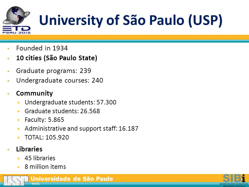 Universidade de São Paulo BRAZIL Integrated Search Portal www.sibi.usp.br/buscaintegrada -Web Scale Discovery - recommendation service, link resolver, federated search, mega- search-index and integrated tool of data sources