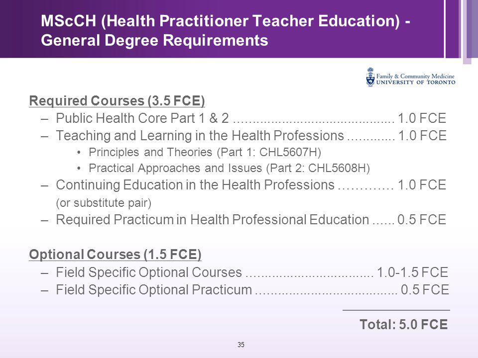 35 MScCH (Health Practitioner Teacher Education) - General Degree Requirements Required Courses (3.5 FCE) –Public Health Core Part 1 & 2............................................