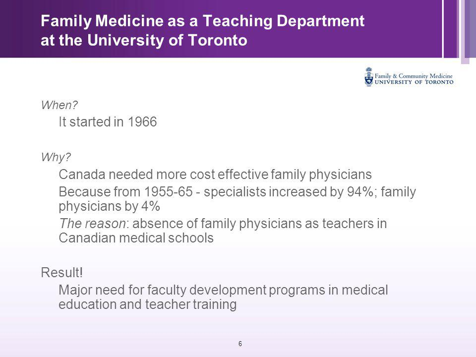 6 Family Medicine as a Teaching Department at the University of Toronto When.