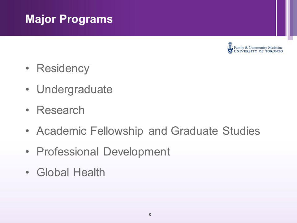 8 Major Programs Residency Undergraduate Research Academic Fellowship and Graduate Studies Professional Development Global Health