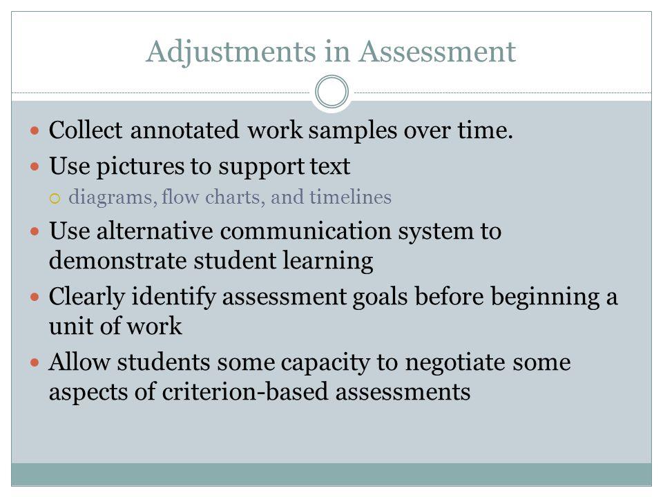 Adjustments in Teaching Do not assume understanding of spoken instructions.