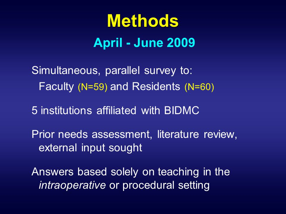 Methods Simultaneous, parallel survey to: Faculty (N=59) and Residents (N=60) 5 institutions affiliated with BIDMC Prior needs assessment, literature