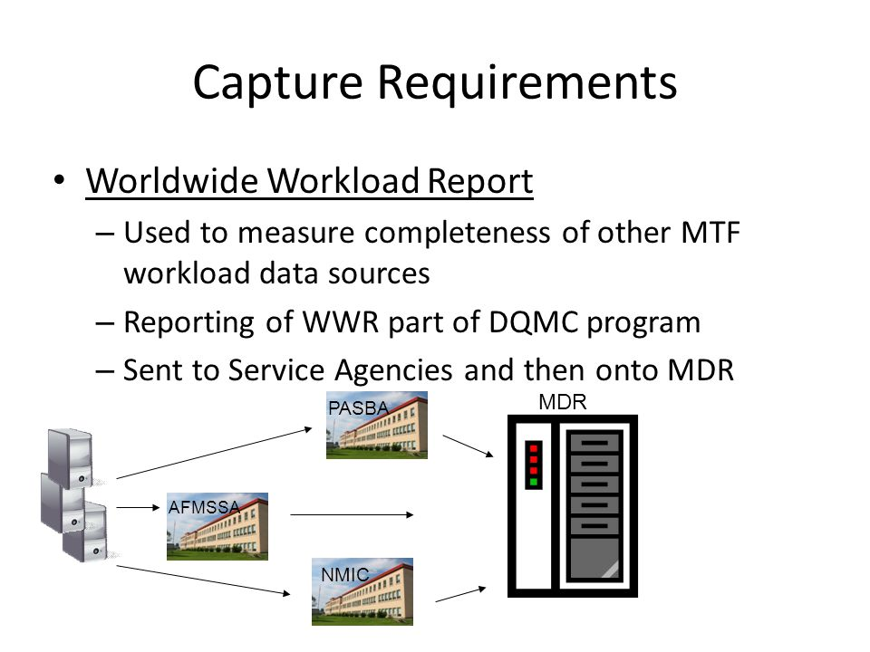 Capture Requirements Worldwide Workload Report – Used to measure completeness of other MTF workload data sources – Reporting of WWR part of DQMC progr