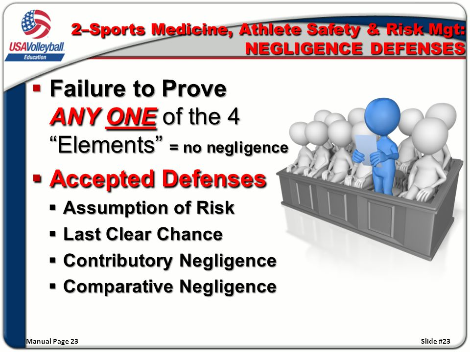  Failure to Prove ANY ONE of the 4 Elements = no negligence  Accepted Defenses  Assumption of Risk  Last Clear Chance  Contributory Negligence  Comparative Negligence Manual Page 23 Slide #23 2–Sports Medicine, Athlete Safety & Risk Mgt: NEGLIGENCE DEFENSES